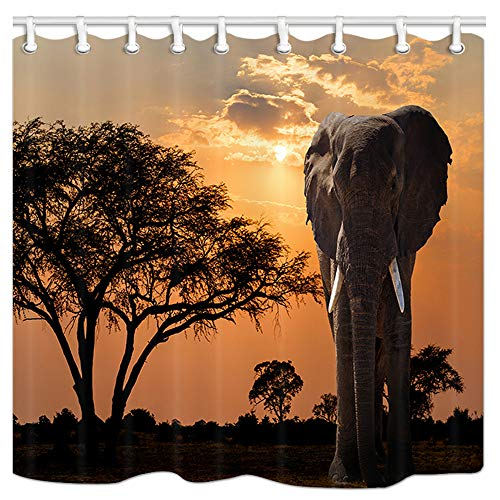 JAWO Elephant Shower Curtain Set, Sunset Over Acacia Tree and African Elephant Africa Safari Polyester Fabric Extra Long Curtain for Bath Decorations Bathroom Sets with Free Hooks, 69x70Inches