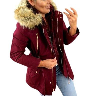 Abrigos Mujer Acolchados Parka Mujer Capucha Pelo Deportiva Abrigos De Invierno Chaqueta Sudadera Grueso (Burdeos