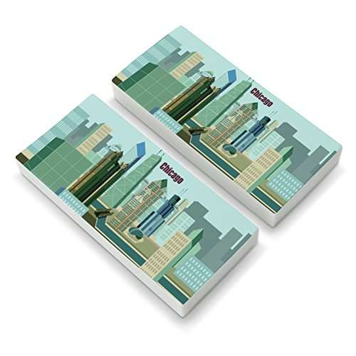Chicago Hancock Building Willis Tower Cloud Gate Bean Eraser Set of 2 - Hancock Tower