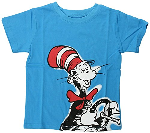 [Bumkins Dr. Seuss Short Sleeve Toddler Tee, Blue Cat in Hat, 4T] (Cat In The Hat Toddler Shirt)