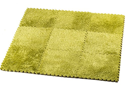 HemingWeigh Fuzzy Area Rug - 9 Fluffy Carpet Tiles for Kids - Ideal for Nursery Décor, Baby Room, Playroom and Kids Room. Plush, Velvet-like Texture, Anti-slip & Durable Rug (Green)
