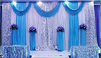 Attractive Wedding Stage Decorations Backdrop Party Drapes With Swag Silk Fabric  Curtain (Blue) SM001