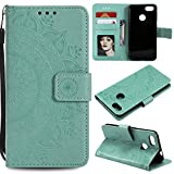 Floral Wallet Case for Huawei P Smart,Strap Flip Case for Huawei P Smart,Leecase Embossed Totem Flower Design Pu Leather Bookstyle Stand Flip Case for Huawei P Smart-Green