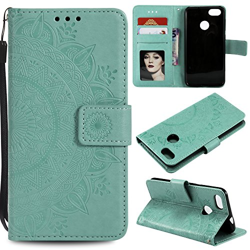 Floral Wallet Case for Huawei P Smart,Strap Flip Case for Huawei P Smart,Leecase Embossed Totem Flower Design Pu Leather Bookstyle Stand Flip Case for Huawei P Smart-Green by Leecase