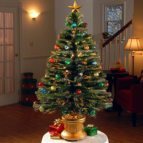 National Tree 48 Inch Fiber Optic Ornament Fireworks Tree with Gold Top Star and Multicolored Lights in Gold Base (SZOX7-100L-48) by National Tree Company (Image #1)