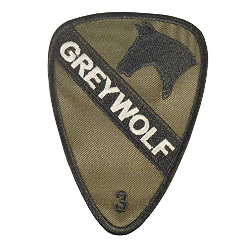 (LEGEEON Olive Drab OD US Army 3rd Brigade Combat Grey Wolf 1st Cavalry Division Green Sew Iron on Patch)