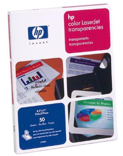 HP Premium LaserJet Transparency Film for Laser Printers, 50 Sheets (C2934A)