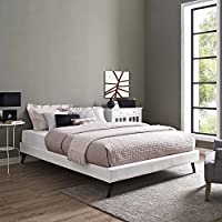 Modway MOD-5890-WHI Loryn Bed Frame Round Splayed Legs, Queen, White Vinyl