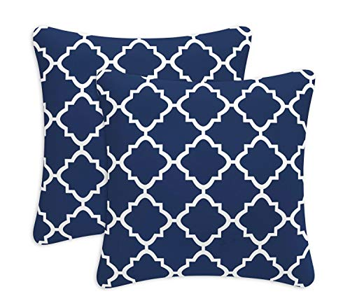 - Decorative Outdoor Pillows with Insert Navy Quatrefoil Lattice Patio Accent Pillows Throw Covers 18x19 Inch Square Cushions for Patio Furniture 2 Pack