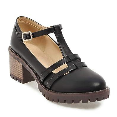 8ba1e91a73826 Women s Round Toe Platform Shoes T-Strap Chunky Heel Mary Jane Pumps Oxford  Dress Shoes
