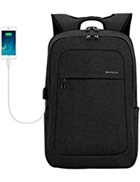 Lightweight Laptop Backpack USB Port Water Resistant 15.6 Inch Business Slim Back Pack Travel Bag