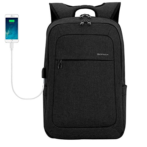 Kopack 17 Inch Laptop Backpack Water Resistant/USB Charing/Anti-Theft Shockproof Slim Travel Computer Back Pack for College Business Grey Black