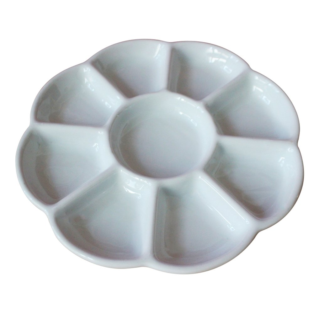 Easyou Porcelain Palette Ceramic Mixing Tray Flower Mixing Plate 7well 6.5