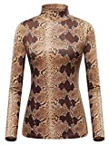 GUBERRY Snake Shirt Women Long Sleeve Turtle Neck Basic Slim Fit Top T-Shirt