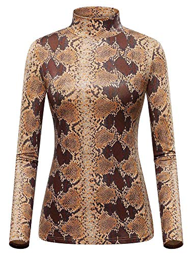 GUBERRY Animal Print Tops for Women Turtle Neck Long Sleeve Layering T Shirt