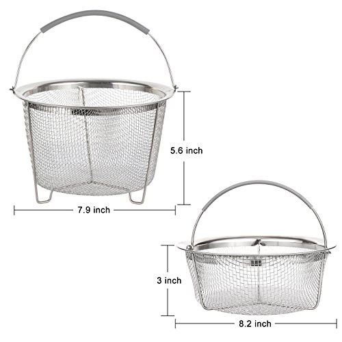 Aoizta Double Tier Stackable Steamer Basket for Instant Pot Accessories 6/8 qt, 18/8 Stainless Steel Mesh Strainer Basket for Vegetables, Eggs, Meats, etc by Aozita (Image #3)