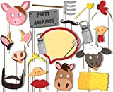 Birthday Galore Farm Animals Barnyard Photo Booth Props Kit - 20 Pack Party Camera Props Fully Assembled