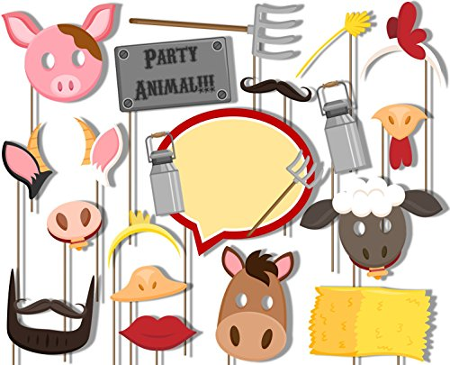 Farm Animals Barnyard Photo Booth Props Kit - 20 Pack Party Camera Props Fully Assembled Barn Farm