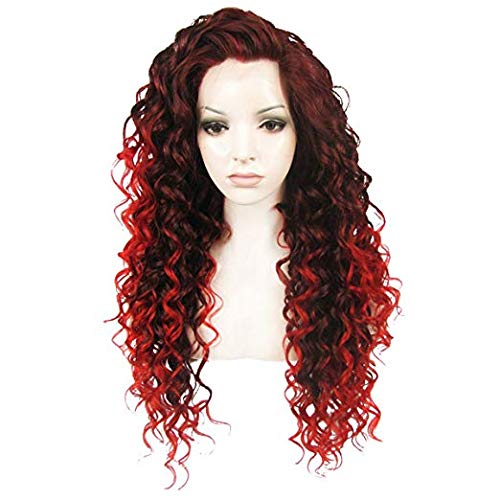 Ebingoo Red Mix Deep Brown Long Curly Lace Front Wig Free Part Synthetic Front Lace Wigs (Senegalese Twist Lace Wig From Wig Parlor)