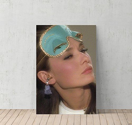 Audrey Hepburn Breakfast at Tiffany`s with Sleeping Mask Canvas Print Decorative Art Modern Wall Décor Artwork Wrapped Wood Stretcher Bars - Ready to Hang - %100 Handmade in the USA -AHV19 (Room Ideas Breakfast)