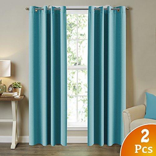 Turquoize Living Room Blackout Curtains Window Treatment Thermal Insulated Room Darkening Solid Grommet Panels/Drapes for Bedroom Living Room (Set of 2, 52 by 108 Inch Long, Aqua)