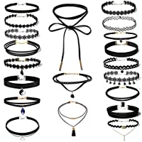 Hunputa 20 Pieces Leather Pendant Choker Necklace Set Stretch Velvet Classic Gothic Tattoo Lace Flower Choker