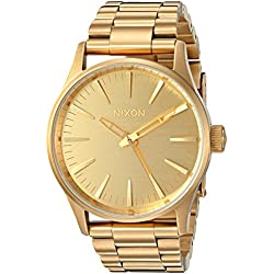 Nixon Men's 'Sentry 38 SS, All' Quartz Stainless Steel Automatic Watch, Color:Gold-Toned (Model: A450-502-00)