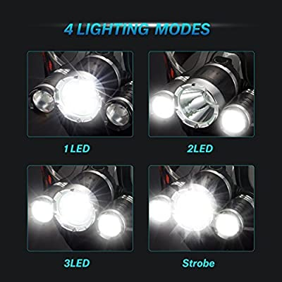 Brightest and Best LED Headlamp 6000 Lumen flashlight - IMPROVED LED, Rechargeable 18650 headlight flashlights, Waterproof Hard Hat Light, Bright Head Lights, Running or Camping headlamps …