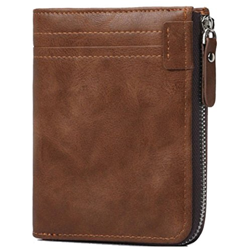 Coiol RFID Blocking Mens Leather Wallets Zip Around Bifold Card Purse (Brown)