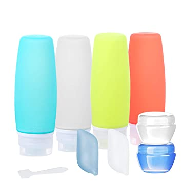Set Travel Bottles TSA Approved 9 PCS Travel Containers for Toiletries BPA Free Silicone Travel Bottles Leak Proof FDA Approved Refillable for Shampoo Conditioner Facial Cleanser Cream 2.9 oz