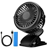 Addwin Mini USB Clip on Fan, Rechargeable Battery Operated 360°Rotation with 3 Speeds Table Desk Fan, Idea for Office, Car, Baby Stroller and Outdoor