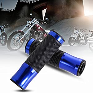 Sikiwind Hand Grips - CNC Motorcycle Alunum Rubber Gel Hand Grips for 7/8 Handle Bar Bikes