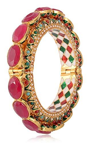 Openable Bangle Kada 22k Gold Plated Brass Indian Jewelry Hand Made Jadau Traditional Meenakari Bangle Royal Rajwada Rajasthani Bangle