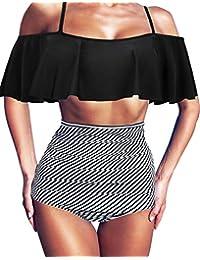 HDE Trajes de baño para Mujer - Traje de baño de Talle Alto con Volantes Falbala Retro Bikini Set