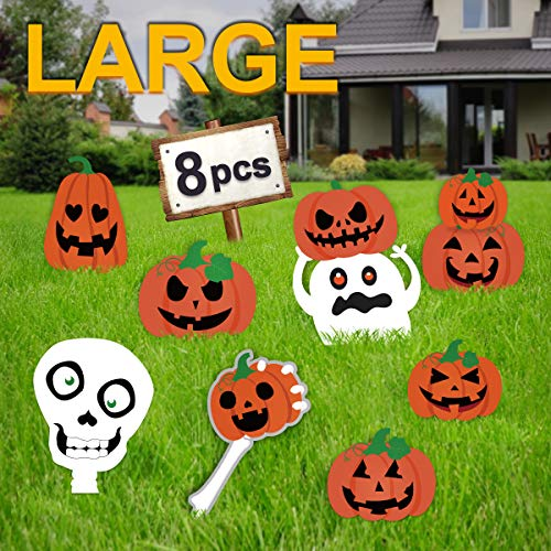 Pawliss Halloween Decorations Outdoor, Extra Large 8ct Pumpkins Skeleton and Ghost Corrugate Yard Signs with Stake, Family Friendly Trick or Treat Party Plastic Decor (Decorations Pumpkin Outdoor)