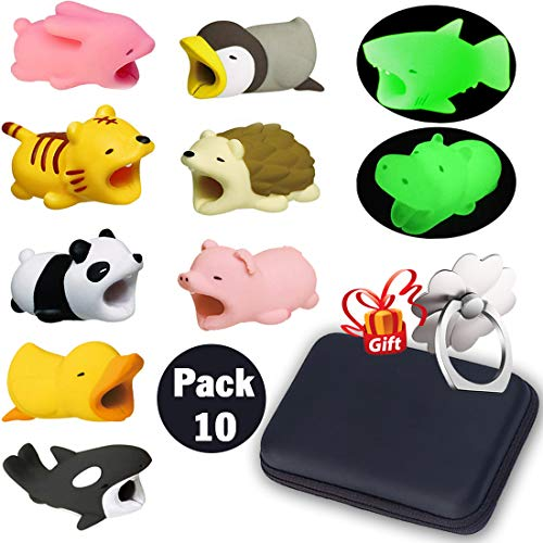 Cord Bites, Cute Animals Bite Cable Protector for IPhone, Cell Phone Accessories & Bites Data Line (10 Pieces with 2 Glowing Style) Bonus: Mobile Storage Box & Cell Phone Holder ()