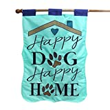 LAYOER Garden Flag 28 x 40 Inch Happy Dog's Home Double-Sided Applique Decorative