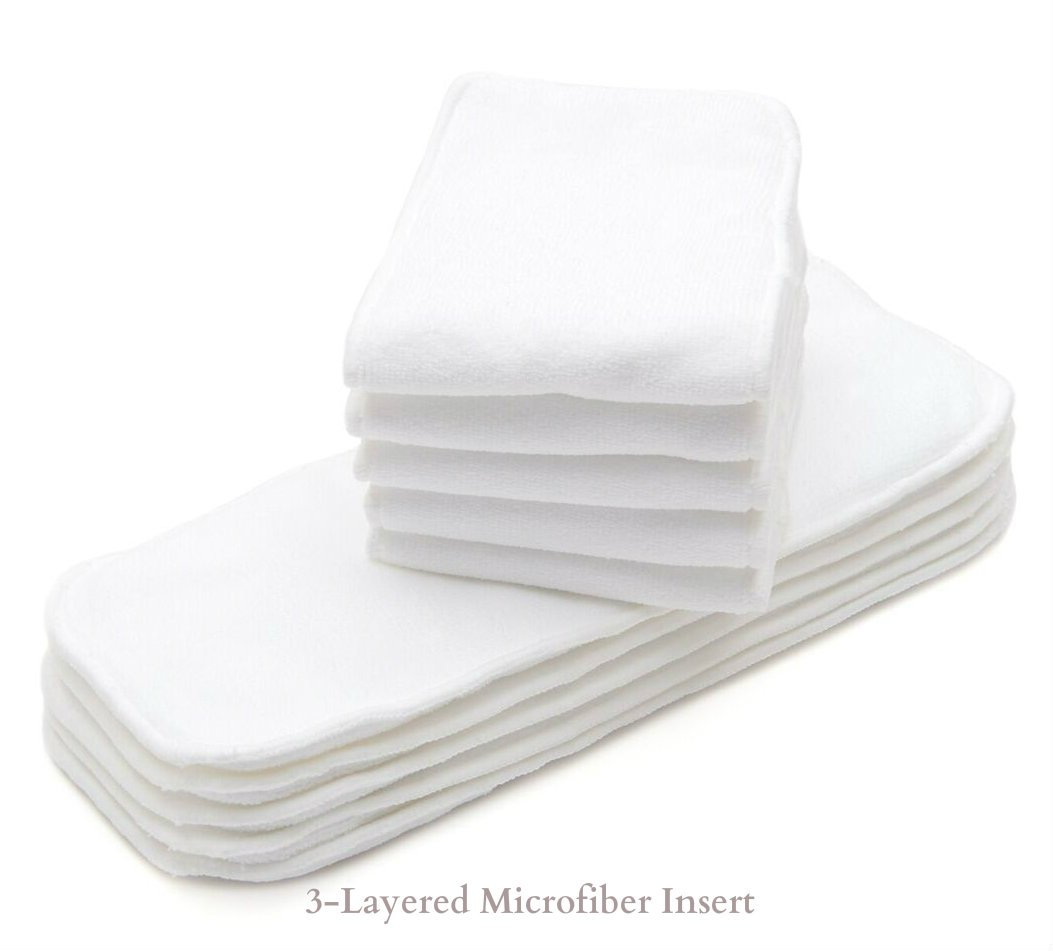 8-36 lbs 3-Layered 10//Pack Super Absorbent Microfiber Cloth Diaper Inserts