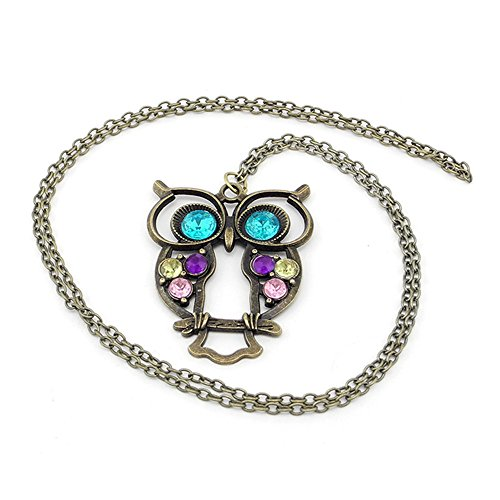 iSaddle® Vintage Retro Colorful Crystal Owl Pendant and Chain with Antiqued Bronze/Brass Finish
