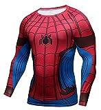 1Bar Superhero Marvel Dri-fit Compression Long Sleeve Shirt Running Training Workout Gym Shirt, Spiderman (S)