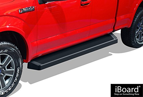 (APS iBoard Running Boards (Nerf Bars | Side Steps | Step Bars) for 2015-2019 Ford F150 Super Cab Pickup 4-Door / 2017-2019 Ford F-250/F-350 Super Duty | (Black Powder Coated Running Board Style))