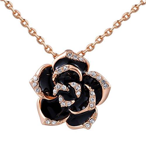 - Austrian Crystal Rose Gold Black Rose Necklace