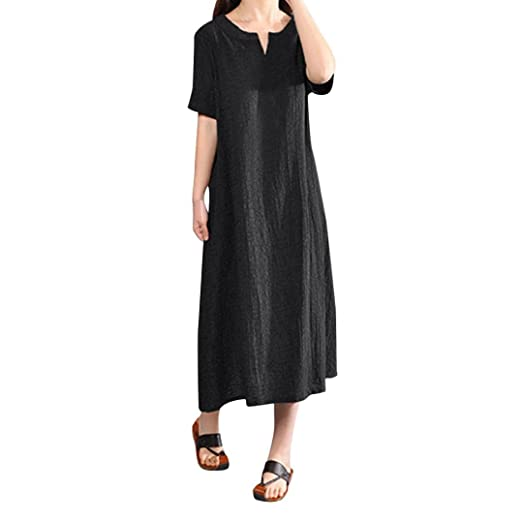 fbe184a761 WuyiMC® Women Dresses Bohemia Loose Casual Long Maxi Dress Cotton Linen  Solid Color Short Sleeve