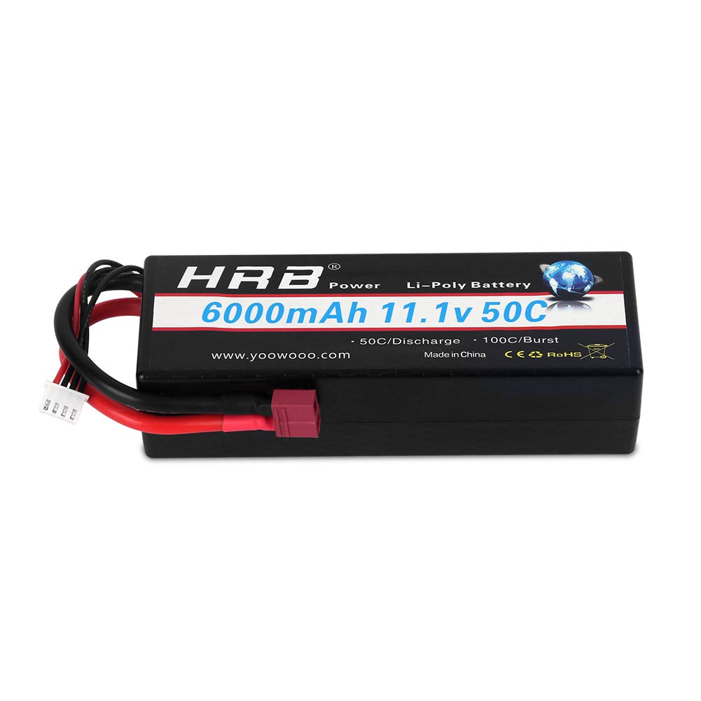 HRB 3S Lipo Battery 11.1v 6000mAh 50C Hard case RC Battery with Deans T Plug for 1/8 1/10 RC Car Trunk Losi Traxxas Slash Buggy Team Associated