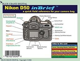 nikon d50 inbrief laminated reference card blue crane digital rh amazon com nikon d500 user's manual nikon d50 instruction manual