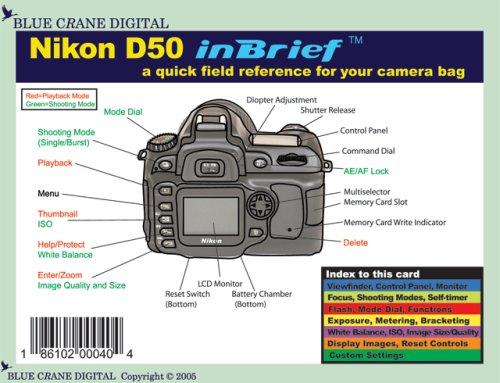 nikon d50 inbrief laminated reference card blue crane digital rh amazon com nikon d50 manual pdf nikon d50 manual pdf