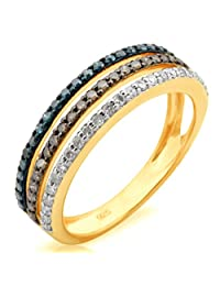0.53Ct Natural Brown, Blue & White Diamond 3 Row Eternity Ring