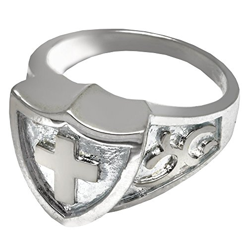 Memorial Gallery 2005P-9 Cross Shield Ring Platinum (Allow 4-5 Weeks) Cremation Pet Jewelry, Size 9