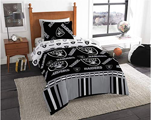 Oakland Raiders NFL Twin Comforter & Sheet Set (4 Piece Bed in A Bag) + Homemade Wax Melts