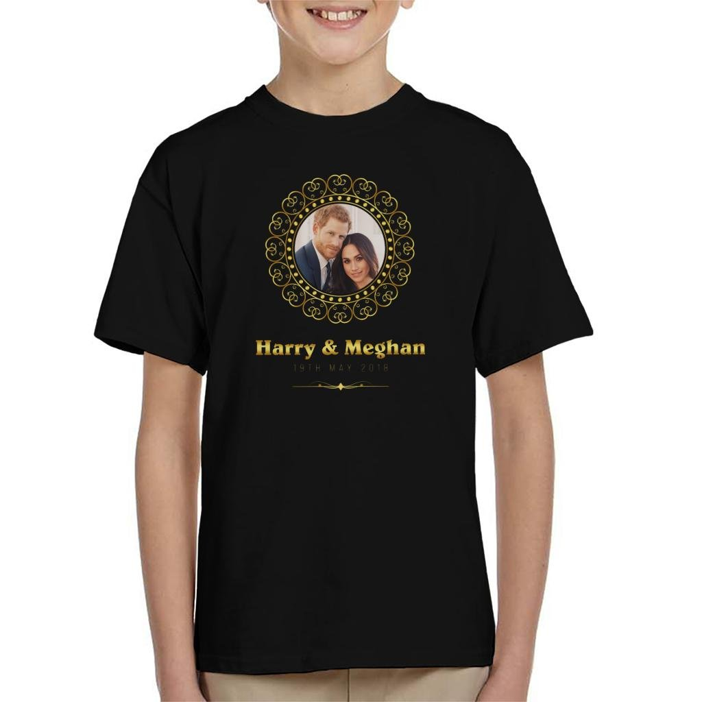 Coto7 Golden Frame Harry and Meghan Royal Wedding Kid's T-Shirt